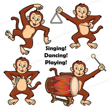 Musical Monkeys Clip Art