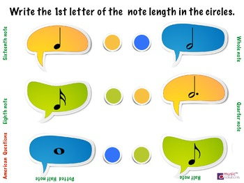 Musical Name The Note Lengths