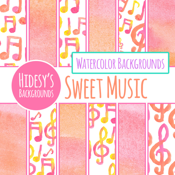 Musical Notes Hand Painted Watercolor Backgrounds / Digital Papers / Clipart