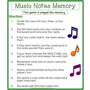Musical Notes Memory Game