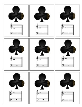Musical Notes Playing Cards - Treble and Bass Clef