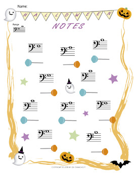 Music Notes Worksheets **Halloween Themed**