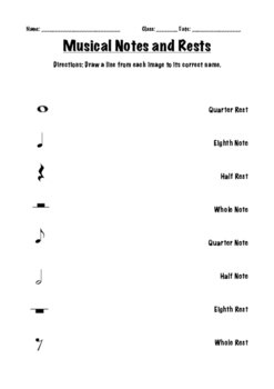 Musical Notes and Rests Worksheet