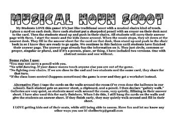 Musical Nouns Scoot Game. common, proper, singular, plural