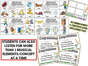 Musical Opposites Clip It Cards