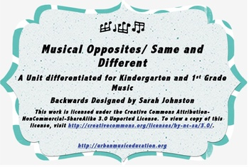 Musical Opposites/ Same and Different- K/1 Music Unit