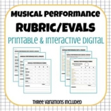 Musical Performance Rubric/Evaluation- Printable & Digital for Distance Learning