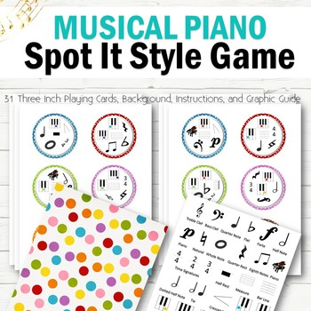 Musical Piano Spot It Style Game - INSTANT DOWNLOAD