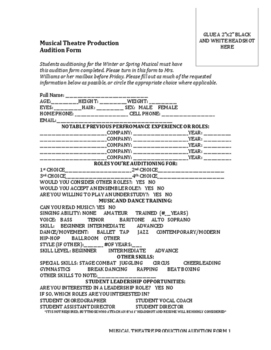 Musical Audition Form Worksheets Teaching Resources Tpt