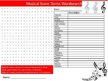 Musical Score Terms Wordsearch Puzzle Sheet Starter Activity Keywords Music
