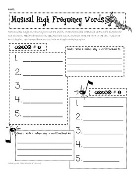 Musical Sight Word / High Frequency Word Game
