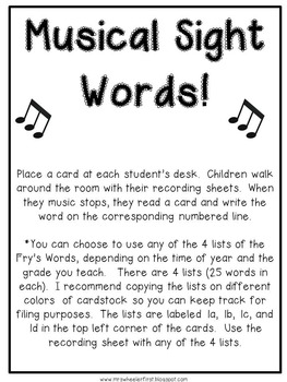 First Grade Sight Words: Musical Words Activity