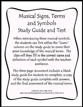 Musical Signs, Terms and Symbols Unit