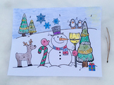 Musical Snowman Color Sheet: Treble Clef Notes & Basic Note Values