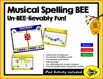 Musical Staff Spelling Bee + Math: Un-Bee-lievably Fun