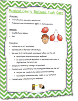 Musical Static Balloons Science Task Card Activity