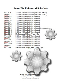 Musical Student Audition Information (Snow Biz)