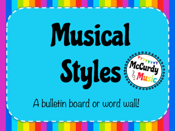 Musical Styles Rainbow Word Wall / Bulletin Board / 8.5 x 11 size