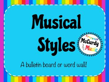Musical Styles Rainbow Word Wall / Bulletin Board / 8.5 x 11 size