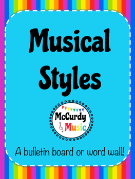 Musical Styles Rainbow Word Wall / Bulletin Board / Half sheet size