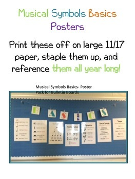 Musical Symbols Basics- Poster Pack for Bulletin Boards