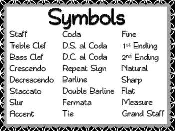 Musical Symbols Posters - Color, black & white, PLUS editable versions
