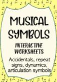 Musical Symbols interactive worksheets (Accidentals, Repeat signs, Dynamics)