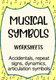 Musical Symbols worksheets (Accidentals, Tempo, Repeat signs, Dynamics)