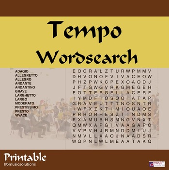 Musical Tempo Wordsearch