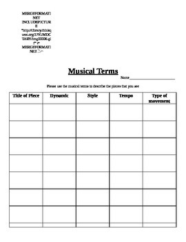 Musical Term List