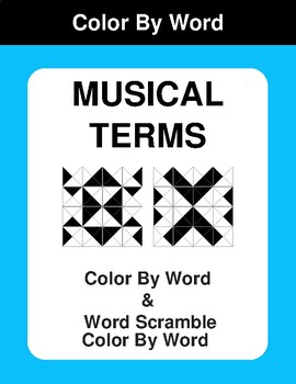 Musical Terms - Color By Word & Color By Word Scramble Worksheets
