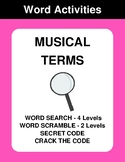 Musical Terms - Word Search, Word Scramble,  Secret Code,  Crack the Code
