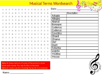 Musical Terms Wordsearch Sheet Music Composition Starter Activity Keywords