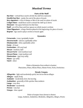 Musical Terms handout