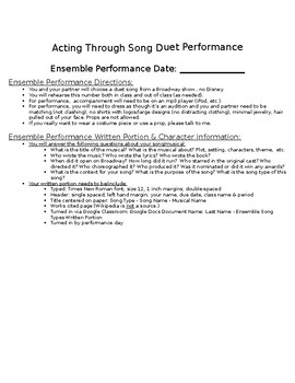 """Musical Theatre """"Acting Through Song"""" Duet Performance Project"""