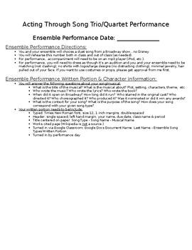 "Musical Theatre ""Acting Through Song"" Trio/Quartet Performance Project"