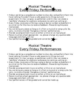 "Musical Theatre ""Every Friday"" Performances Project"
