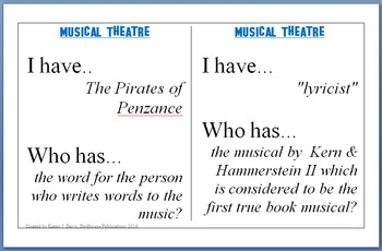 """Musical Theatre Game, """"I have...Who has"""", Broadway Musicals"""