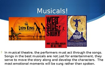 Musical Theatre! Introduce the structure of musicals - works with any show!