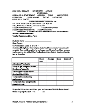 Musical Theatre Production Audition Forms
