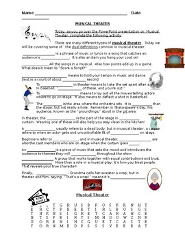 Musical Theatre - Scaffold Notes to Accompany Power Point Presentation