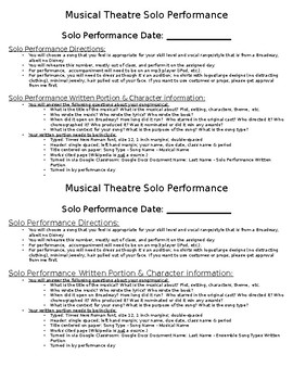 Musical Theatre Solo Performance Project