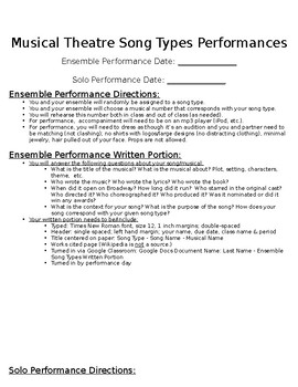 Musical Theatre Song Types Performance Project