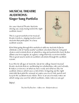 Musical Theatre Student - Audition Portfolio