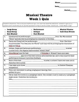 Musical Theatre Week 1 Lesson