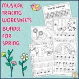 Tracing Music Worksheets for Spring | Bundle
