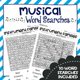 Musical Word Searches - Music Substitute Activity - Early