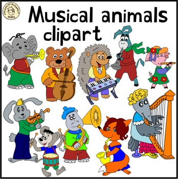 Musical animals clipart