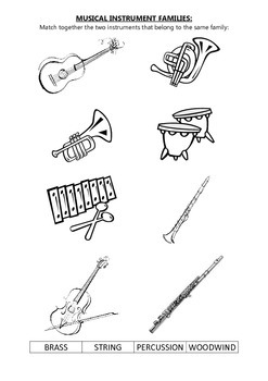 Musical instrument famillies matching exercise
