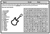 Musical instruments, Word Search Worksheet